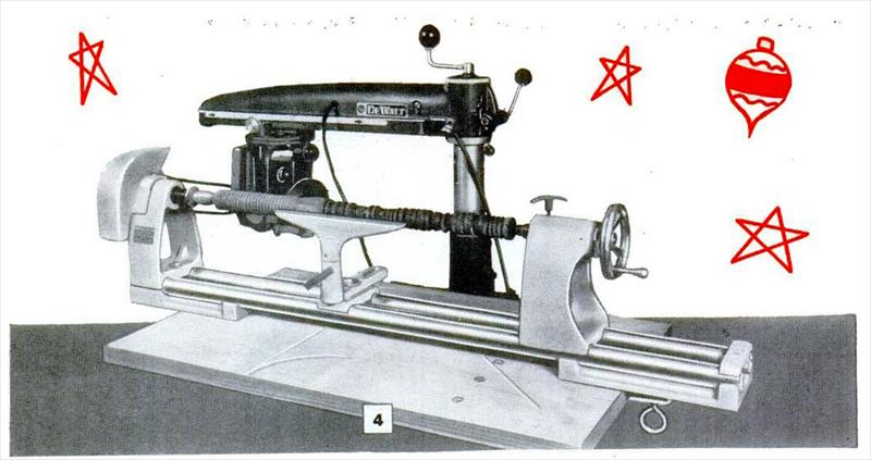 DeWalt Products Co. - 1958 image - Lathe attachment for radial arm saw | VintageMachinery.org