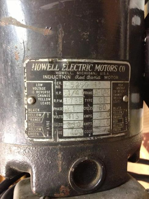 Photo Index Howell Electric Motors Co Red Band Capacitor Start Induction Motor