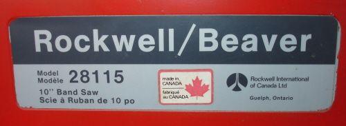 rockwell beaver bandsaw model 28115 manual